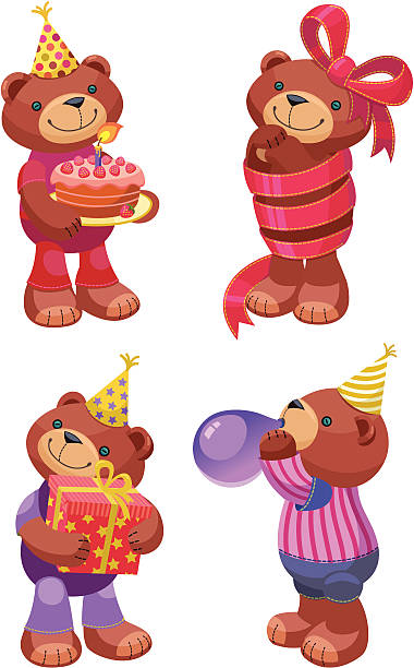 Ours en peluche Series: Fête d'anniversaire - Illustration vectorielle