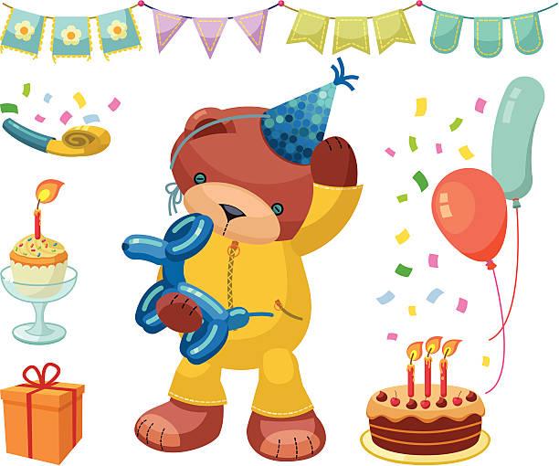 illustrations, cliparts, dessins animés et icônes de ours en peluche series: ensemble d'anniversaire - ballon anniversaire smiley