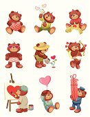 9 colorful  illustrations on valentine`s day theme with a teddy bear.