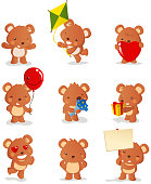 Teddy bear set, with nine teddy bears in different sizes and situations like: bear with opened arms, bear and kite, bear holding heart, bear holding balloon, bear and flowers, bear and present, bear with heart eyes, sad bear and bear with sign vector illustration.