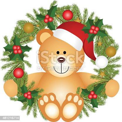 istock Teddy bear sitting in a Christmas wreath 481216714