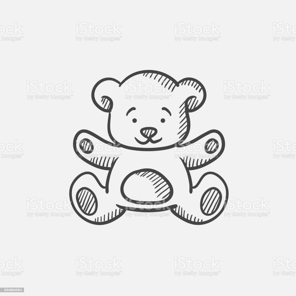 Teddy bear sketch icon - ilustração de arte vetorial
