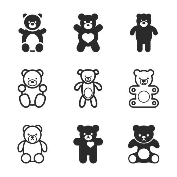 ilustrações de stock, clip art, desenhos animados e ícones de teddy bear vector icons. - teddy bear