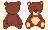 Cute bear cub front and back. Hand drawn EPS10 vector illustration, global colors, easy to modify.