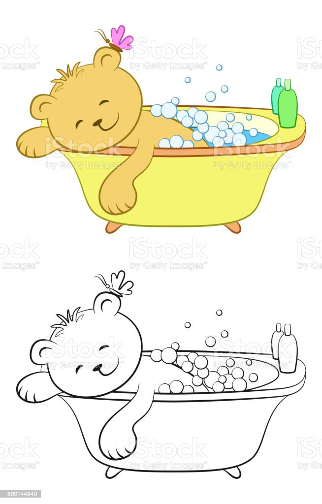 Teddy Bear Washes in the Bath vector art illustration