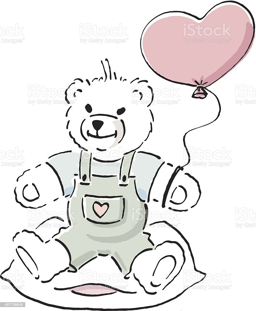 Teddy bear with a heart. royalty-free teddy bear with a heart stock vector art & more images of balloon