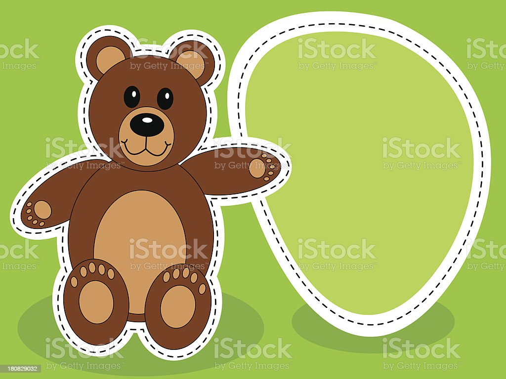 Teddy bear with blank sign royalty-free stock vector art