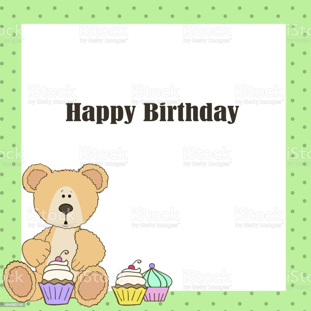 Teddy Bear With Cup Cake Happy Birthday Card Stock Vector Art More