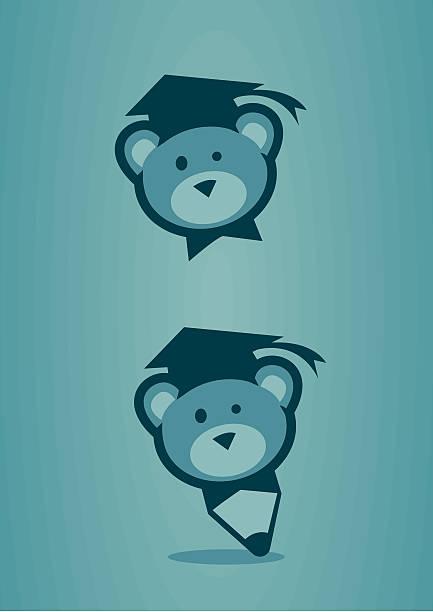 Urso de pelúcia com tampa da formatura - ilustração de arte em vetor