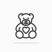 Teddy bear with heart icon in line style.