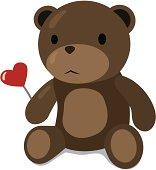 Illustration of a cute brown teddy bear holding a heart.