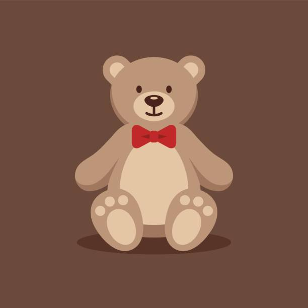 Teddy bear with red bow tie. Cute teddy bear with red bow tie on brown background. Funny toy flat illustration. teddy bear stock illustrations