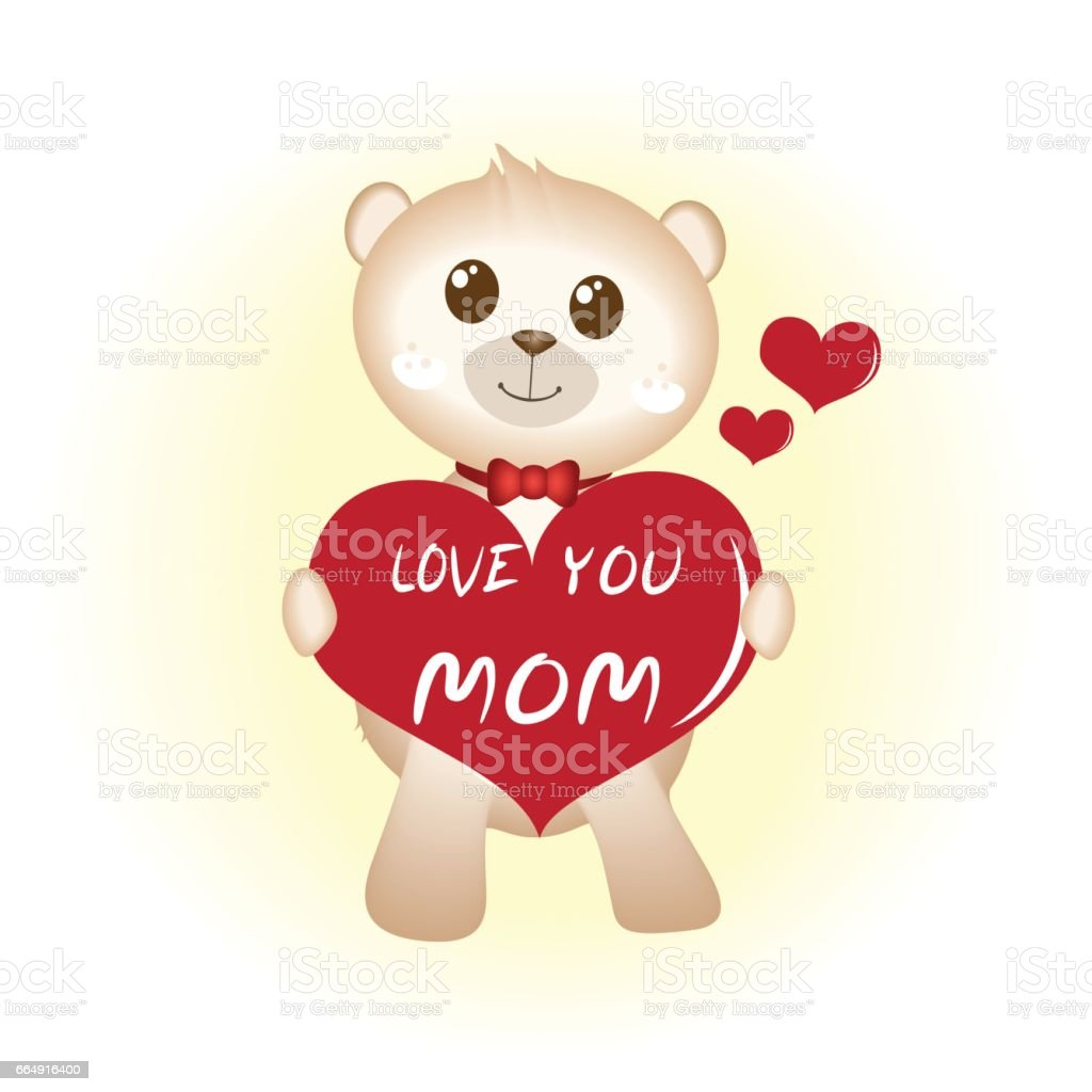 Teddy Bear With Red Heart Hapy Mothers Day Stock Vector Art & More ...