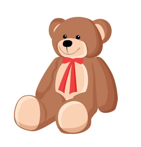 ilustrações de stock, clip art, desenhos animados e ícones de teddy bear with ribbon poster vector illustration - teddy bear