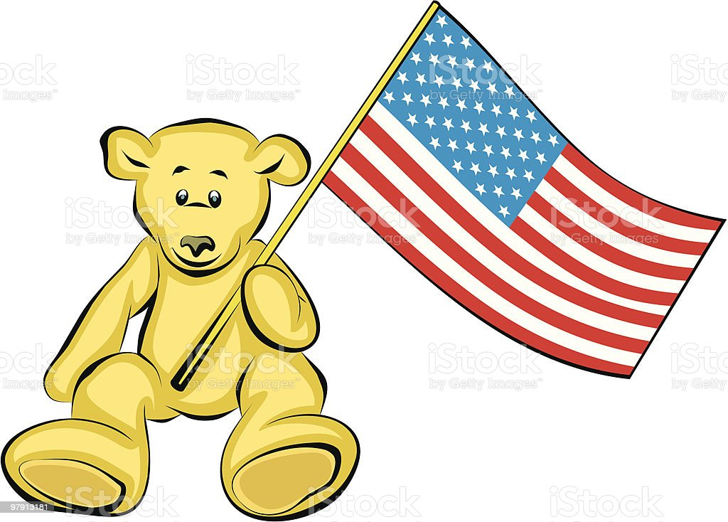 Teddy Bear  with USA Flag - Vector Illustration royalty-free teddy bear with usa flag vector illustration stock vector art & more images of american flag