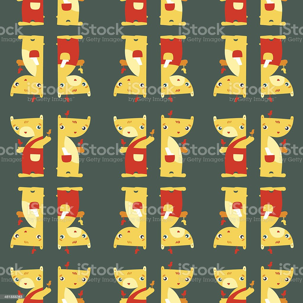 Teddy Bears. Funny bright seamless pattern on dark background royalty-free stock vector art
