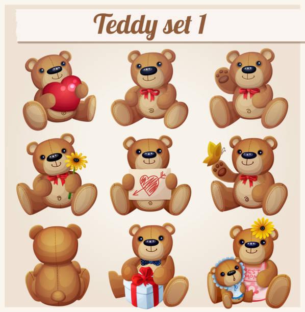 ilustrações de stock, clip art, desenhos animados e ícones de teddy bears set. part 1 - teddy bear
