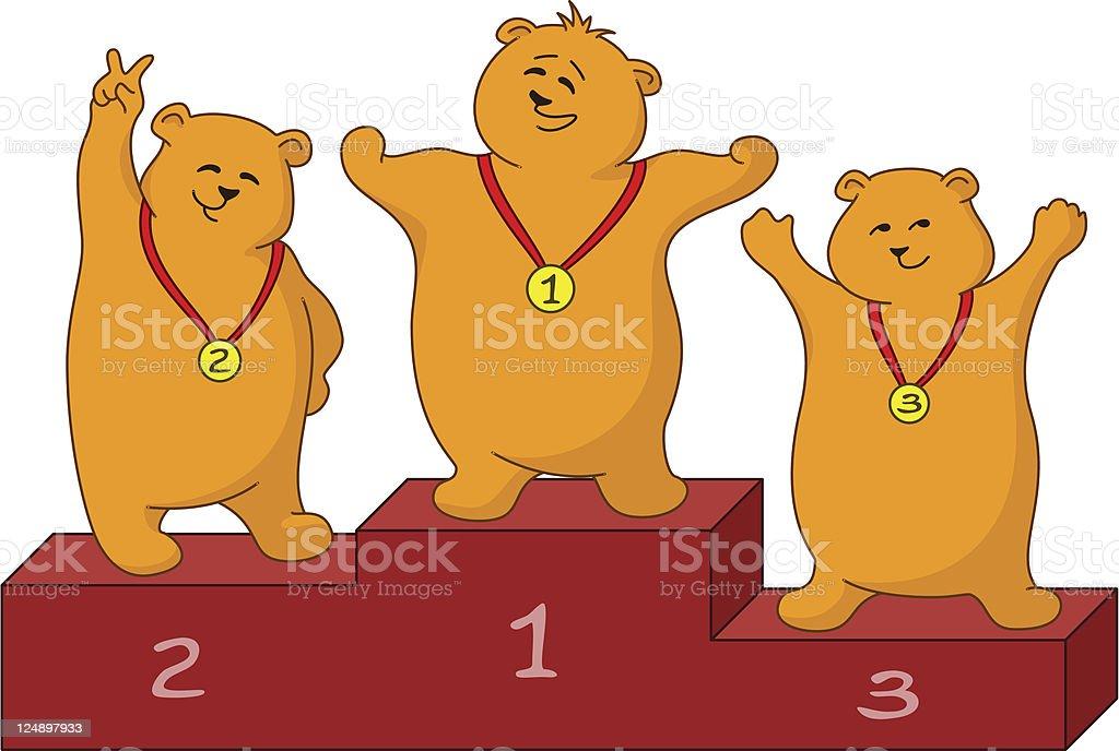 Teddy bears sportsmans royalty-free stock vector art