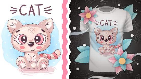 Teddy cat - idea for print t-shirt