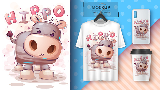 Teddy hippo - poster and merchandising