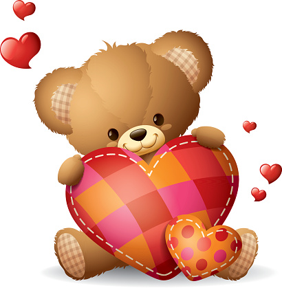 Teddy holding heart pillow