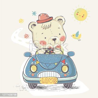 Teddy in car