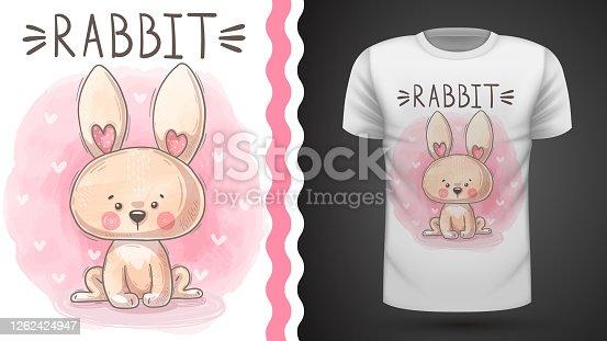 Teddy watercolor rabbit - idea for print t-shirt
