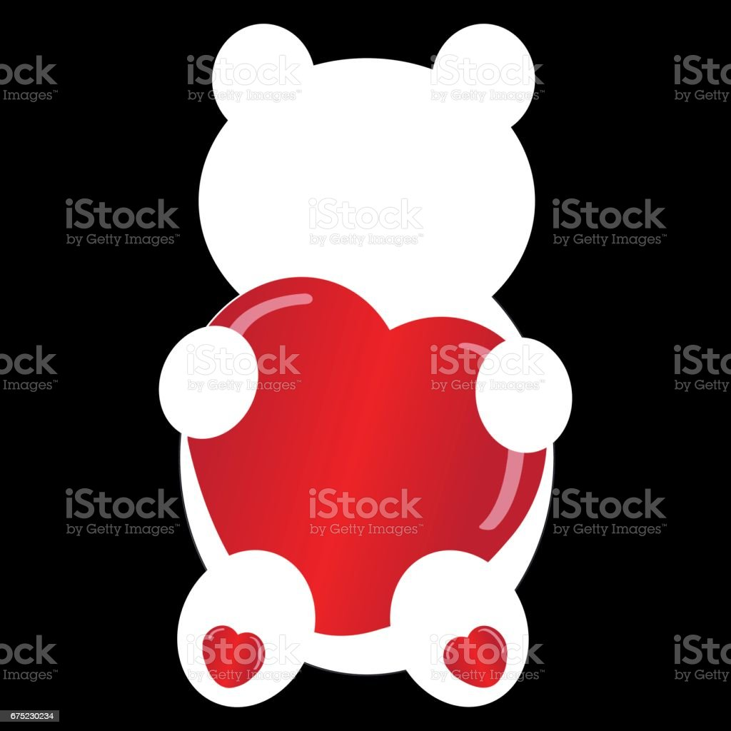 Teddybear silhouette on black background. Vector illustration. royalty-free teddybear silhouette on black background vector illustration stock vector art & more images of affectionate