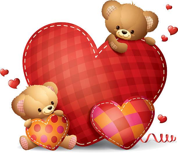 teddys-bigheart - herzkissen stock-grafiken, -clipart, -cartoons und -symbole