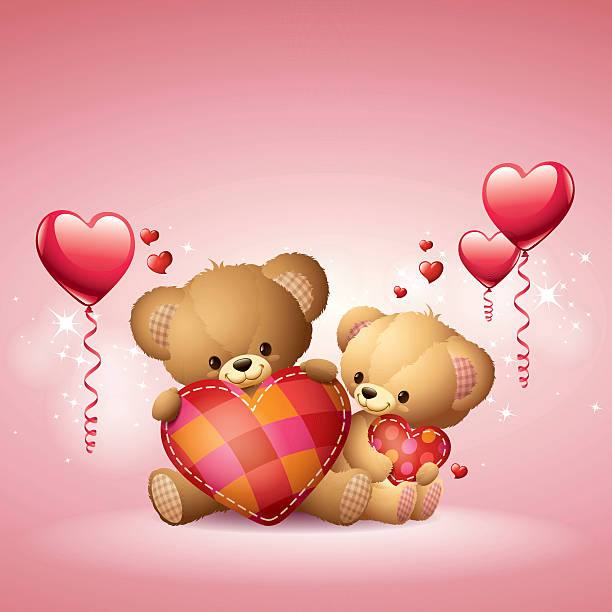 teddys-love - herzkissen stock-grafiken, -clipart, -cartoons und -symbole