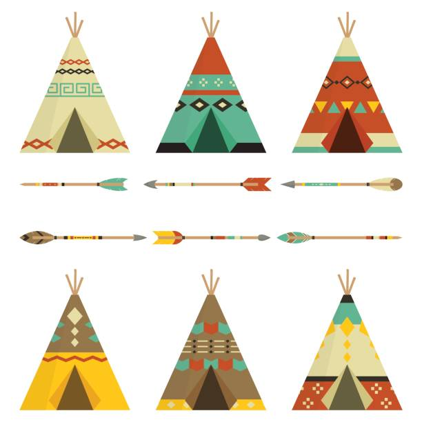 Tee pee And Arrows Rustic In White Background Native American Tee Pee And Arrows teepee stock illustrations