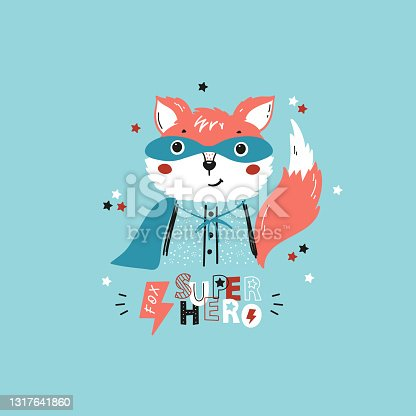 Tee Print design for Kids with Funny Cute Fox in Mask and Superhero Cape. Cartoon Doodle Animal. Poster for Children Vector Illustration