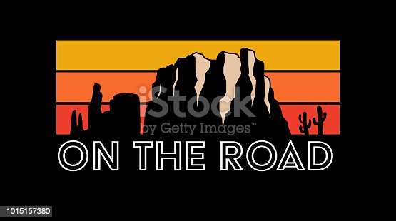 On the road, road trip, slogan, typography, tee shirt graphic, printed design.