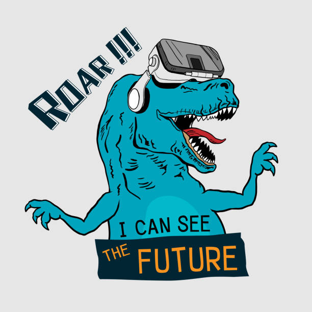 tee shirt graphic printed design. Dinosaur Tyrannosaurus Rex with virtual glasses. Graphic tee. vector design for t-shirt printing and embroidery apparel. silk screen stock illustrations