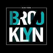 Brooklyn typography, tee shirt graphic, printed design. t-shirt printing and embroidery apparel.