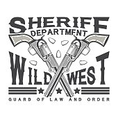 Vintage typography,Wild West t-shirt graphics,  apparel stamps, tee print design, vintage sheriff emblem, vector