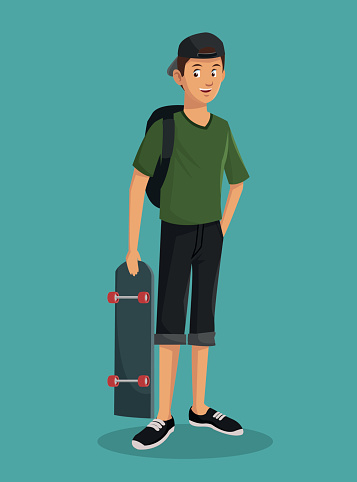 teen boy green tshirt skater cap