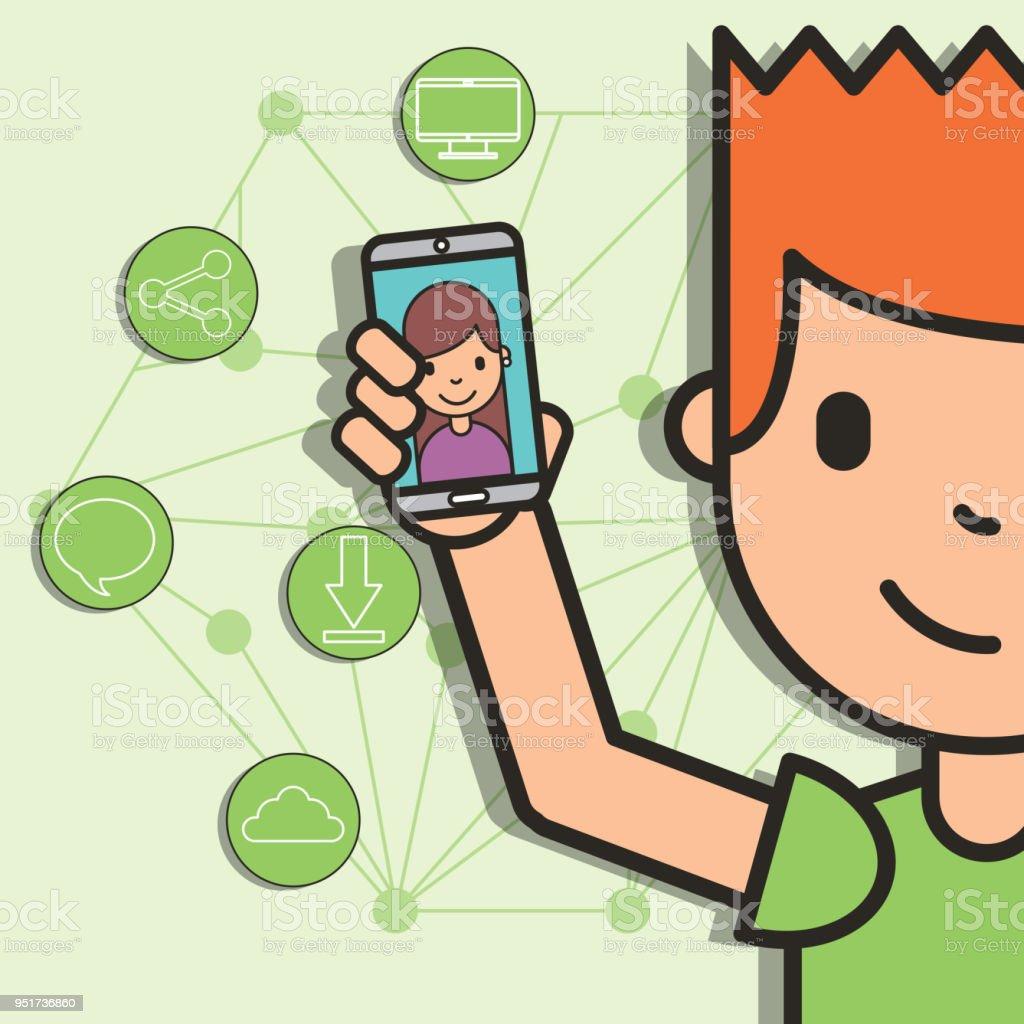 428b2e4bc364 teen pojke håller smartphone flicka på skärm ansluten sociala medier  royaltyfri teen pojke håller smartphone flicka
