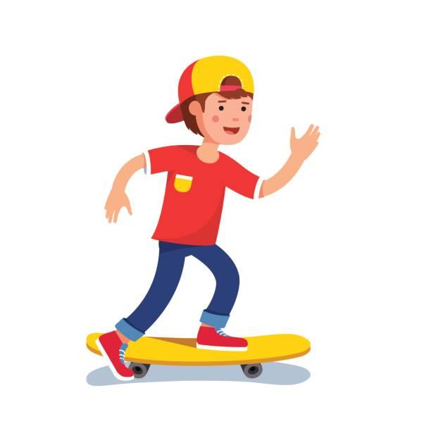 十代の少年野球キャップ スケート ボードに乗っての - スケートボード点のイラスト素材/クリップアート素材/マンガ素材/アイコン素材