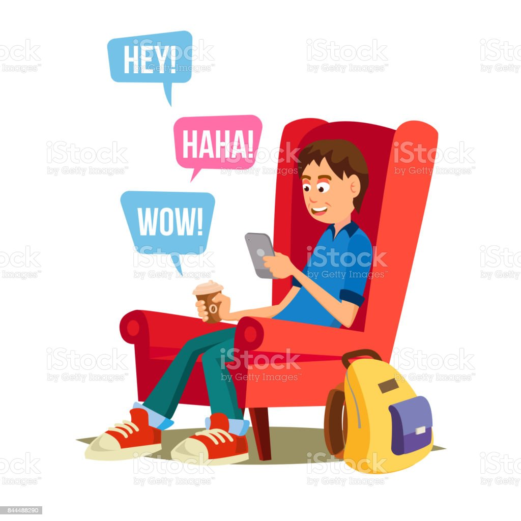 Teen Boy Vector. Happy Boy Communicate On Internet. Using Smartphone. Isolated On White Cartoon Character Illustration vector art illustration