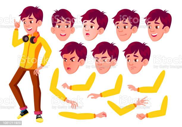 Teen boy vector teenager pretty youth face emotions various gestures vector id1051211920?b=1&k=6&m=1051211920&s=612x612&h=ffgiopc rxjx3o50fx9avdiph0vb6m5pp4qox 14d4w=