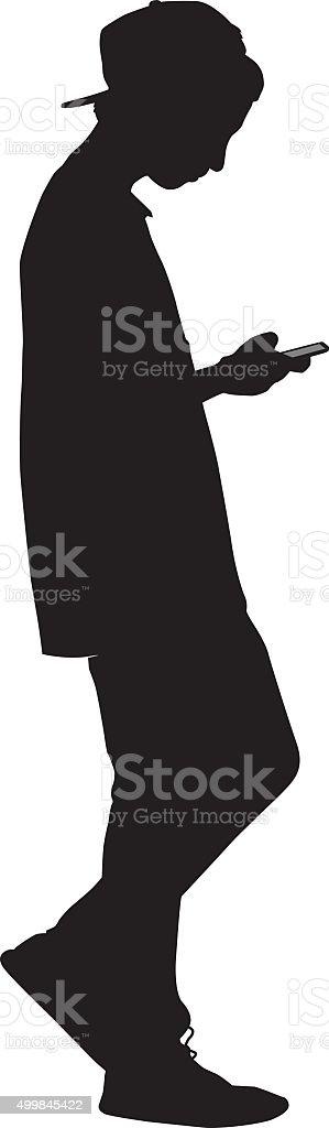 Teen Boy Walking With Smart Phone vector art illustration