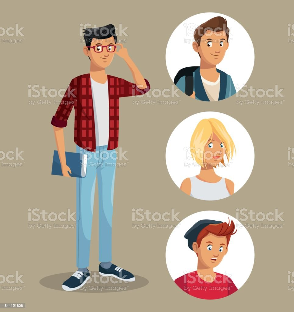 teen boy with glasses book friends icons vector art illustration