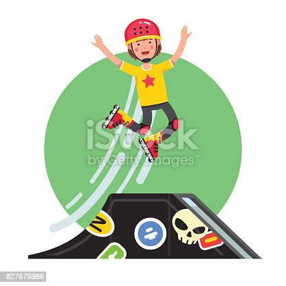 Teen kid doing stunt jump from skatepark quarter pipe ramp on roller skates. Extreme sport boy riding board in helmet, kneepads. Flat style character vector illustration isolated on white background.