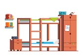 Teen dormitory room with bunk bed and wardrobe