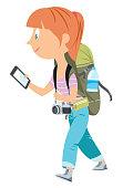 Vector Teen Girl Holding Smart Phone