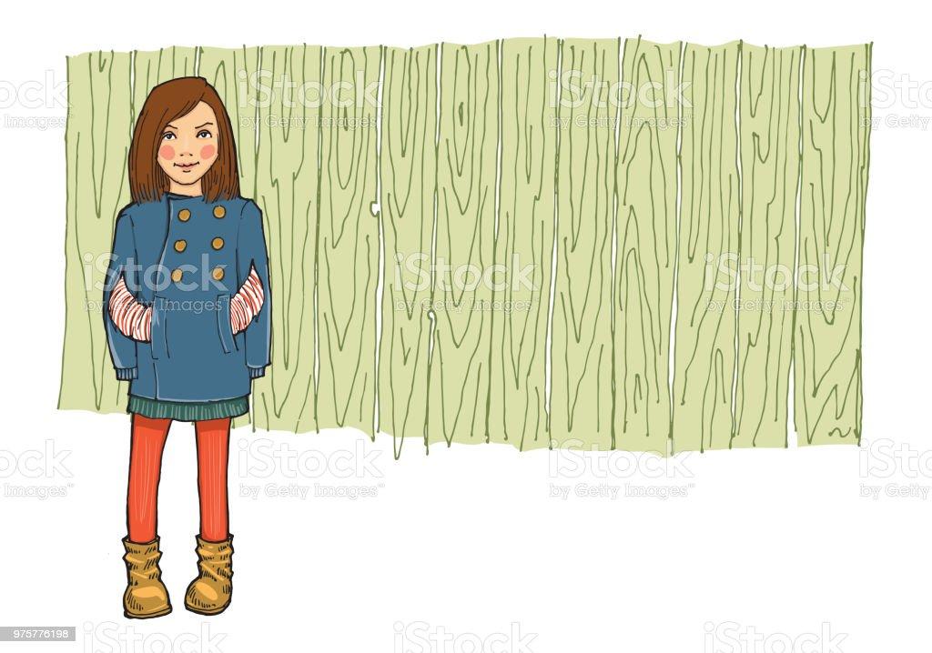 Teen Mädchen in modische Kleidung - Lizenzfrei Bildhintergrund Vektorgrafik