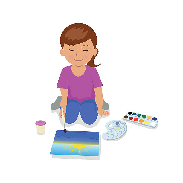 teen girl sitting and painting a landscape. - art class stock illustrations, clip art, cartoons, & icons