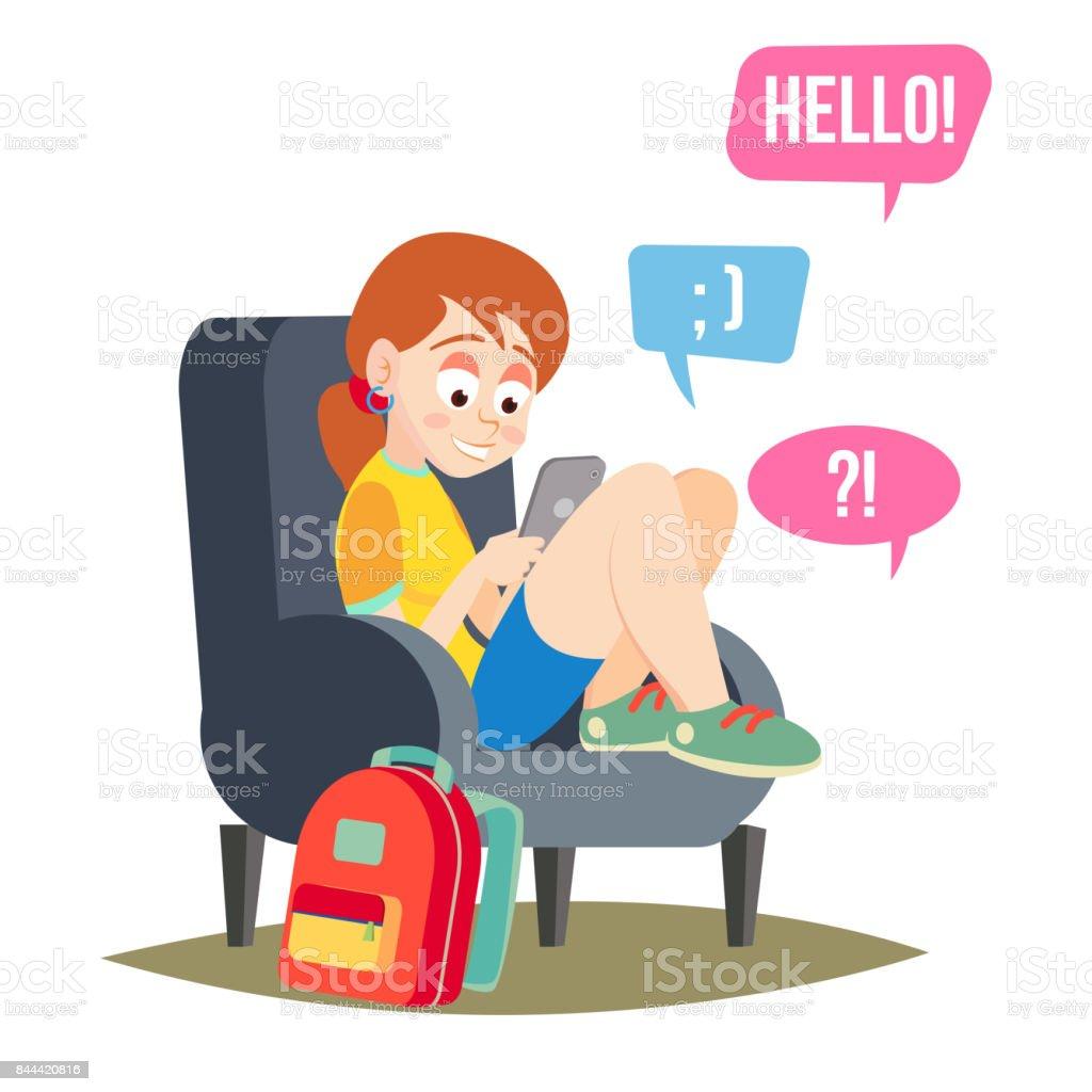 Teen Girl Vector. Teen Girl Texting With Cell Phone. Smart Phone Chatting Addiction. Cartoon Character Illustration vector art illustration