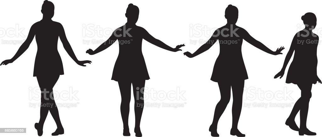 Teen Girls Dancing Silhouettes vector art illustration